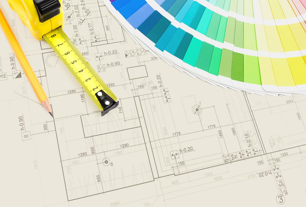 Bouwkundige tekeningen van het interieur van een huis of kantoor met stalen interieur elementen