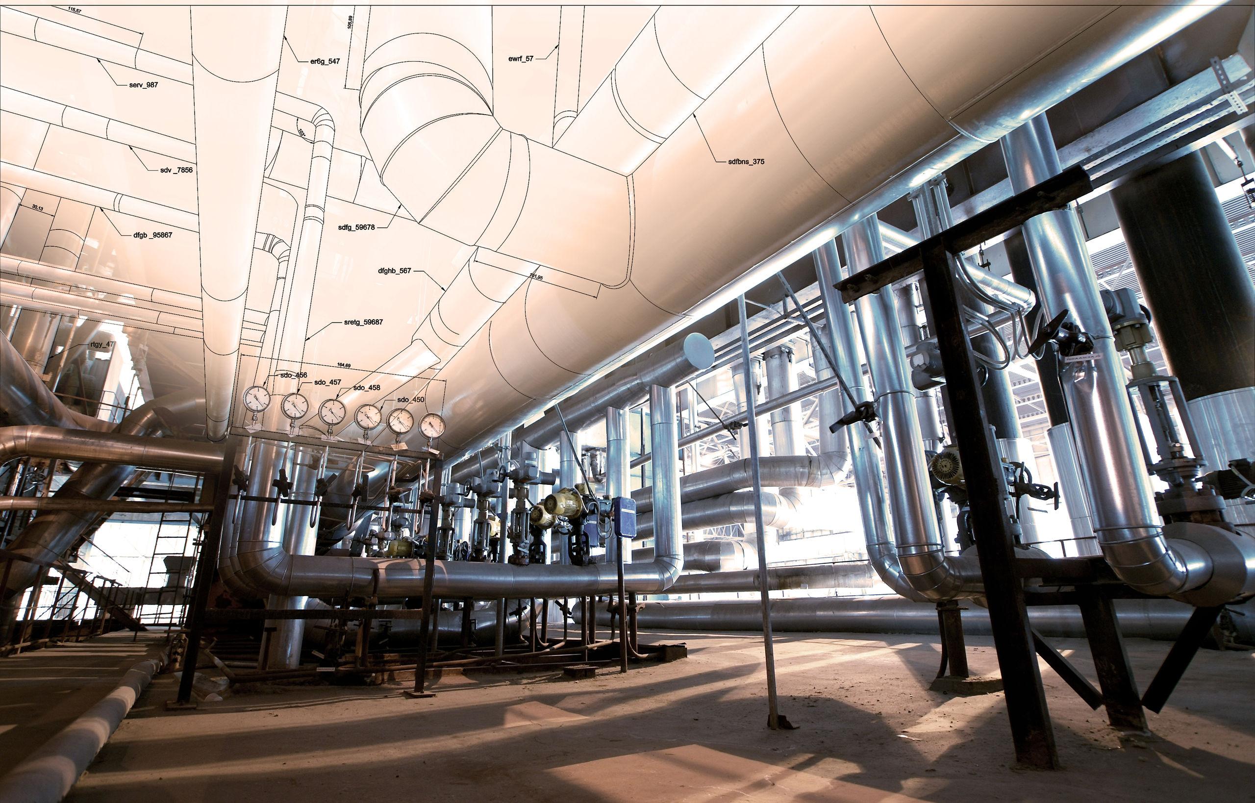 Combinatie van ontwerp en uitvoering van opstelling met buisen en stalen frames voor de industrie